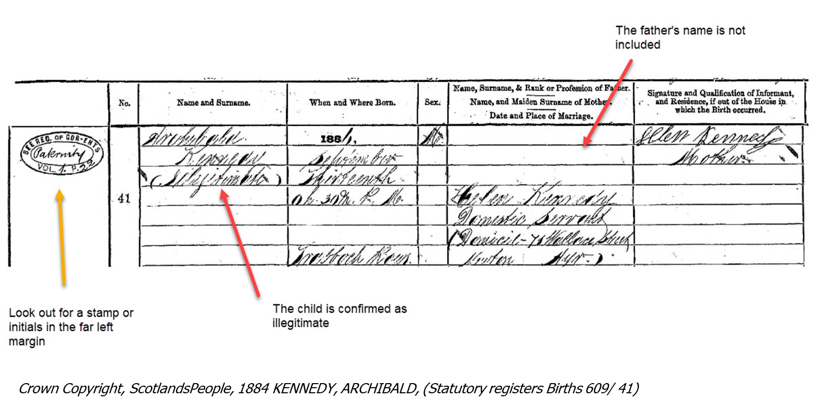 Scottish Birth Register with Register of Corrected Entries stamp